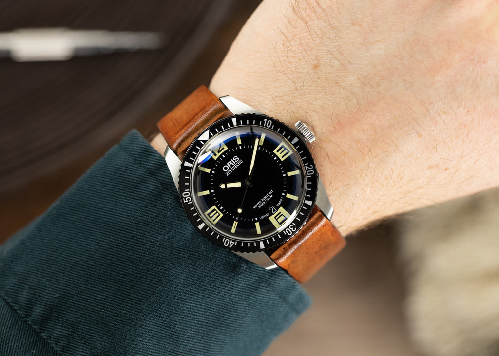 Gold Brown Smooth Leather Watch Strap on Oris Watch