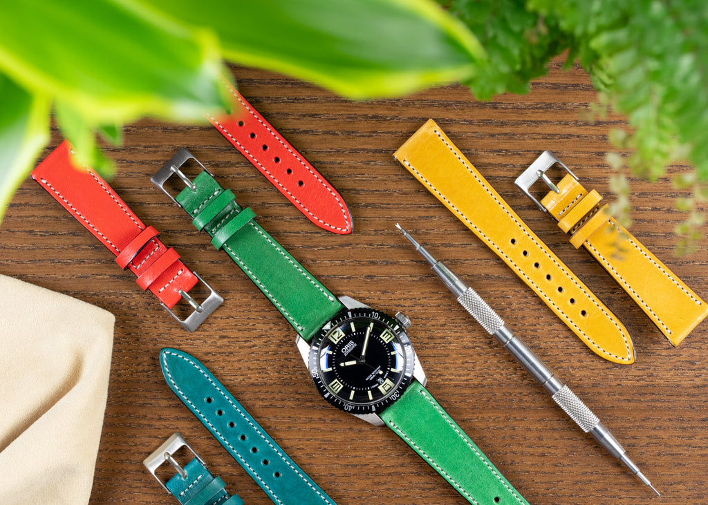 Vibrant Pebro watch straps with Oris 65 Diver