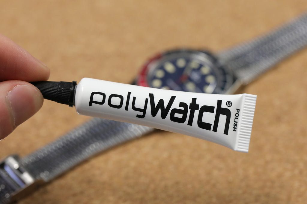 Tube of PolyWatch with Q Timex Reissue before treatment
