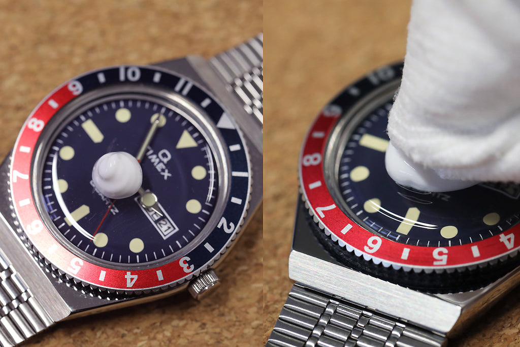 Polywatch being applied to a Q Timex Reissue