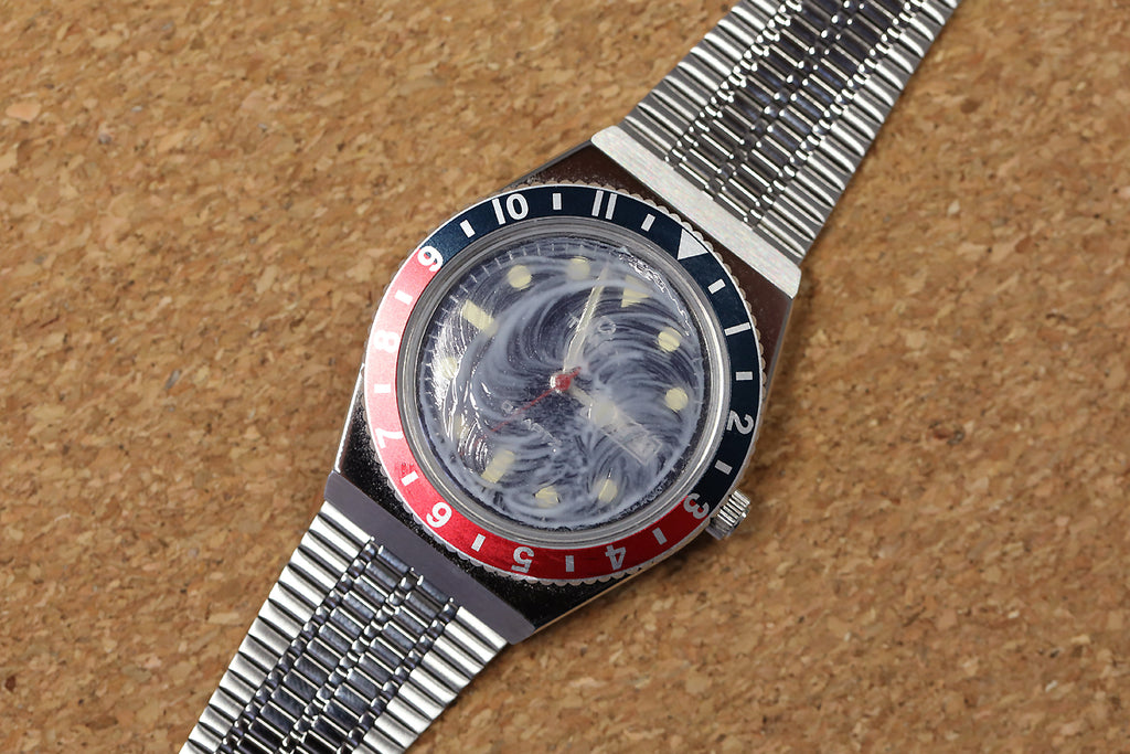 Q Timex Reissue during the PolyWatch dial treatment