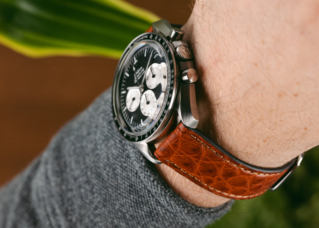 Small scale alligator watch strap in light brown