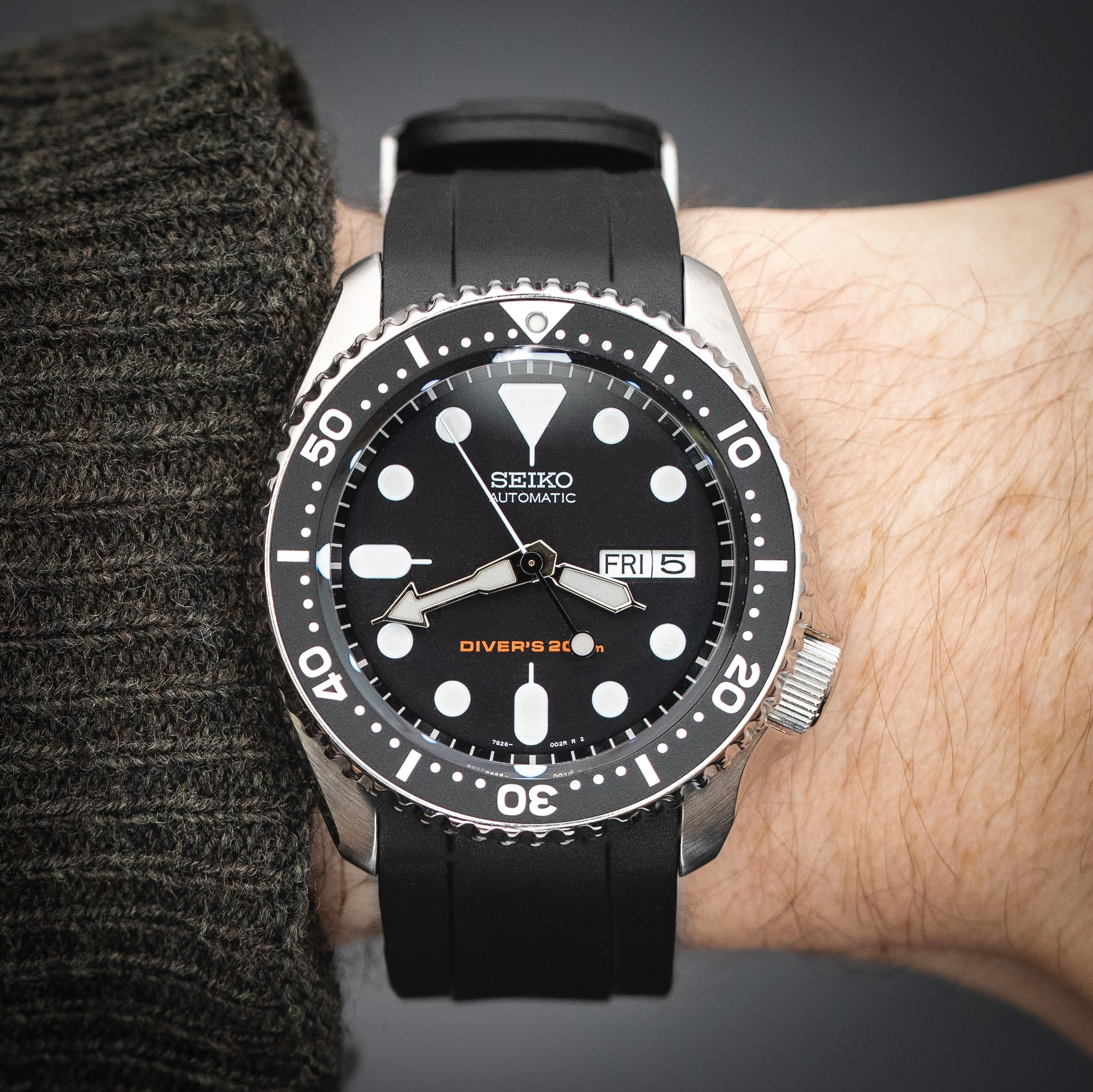 Seiko SKX with Crafter Blue CB10 strap in black fitted and worn on the wrist