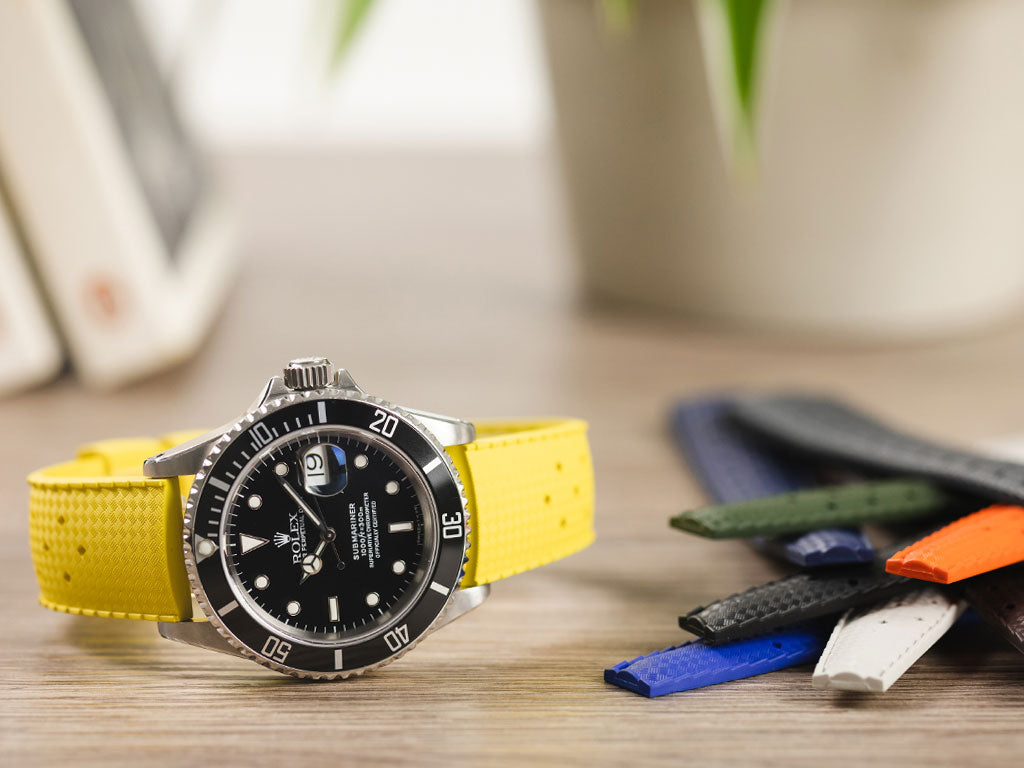 Yellow rubber watch strap