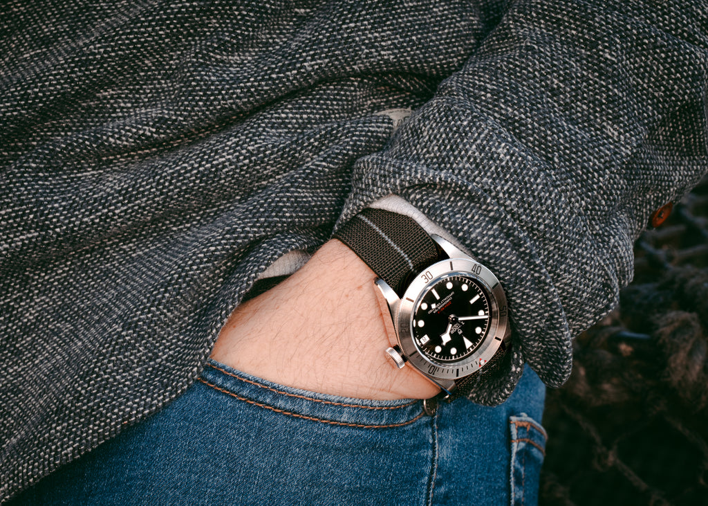 Tudor Black Bay Steel and Erika's Originals Black Ops MN watch strap