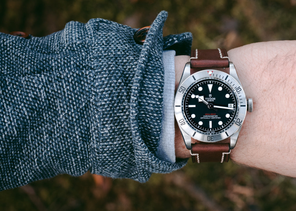 Tudor Black Bay Steel watch with Hirsch Liberty in Brown