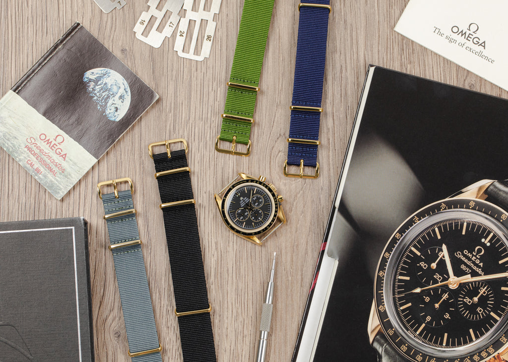 Nato watch straps with gold plated buckle and keepers