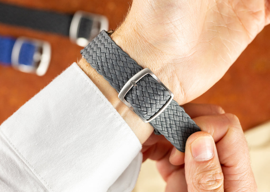 Double Yarn Perlon watch strap in Grey with brushed buckle