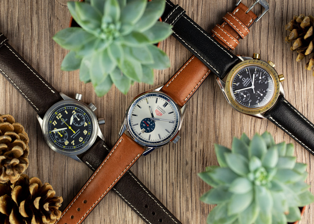 Selection of luxury watches and organic watch straps by Rios1931