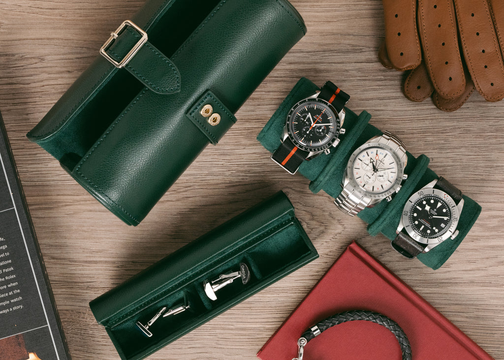 Luxury watch roll in British racing green.