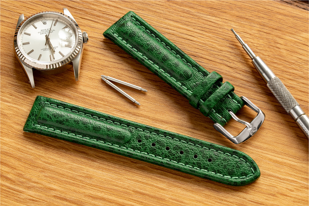 Polo Sherpa watch strap in green about to be fitted to a Rolex Datejust