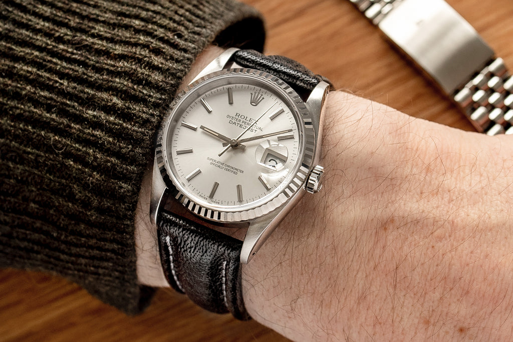 Rolex Datejust on the wrist with Di-Modell Polo Sherpa watch strap in black fitted to it.