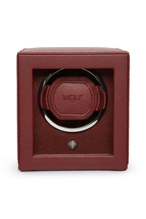 WOLF CUB Single Watch Winder with Cover in BORDEAUX