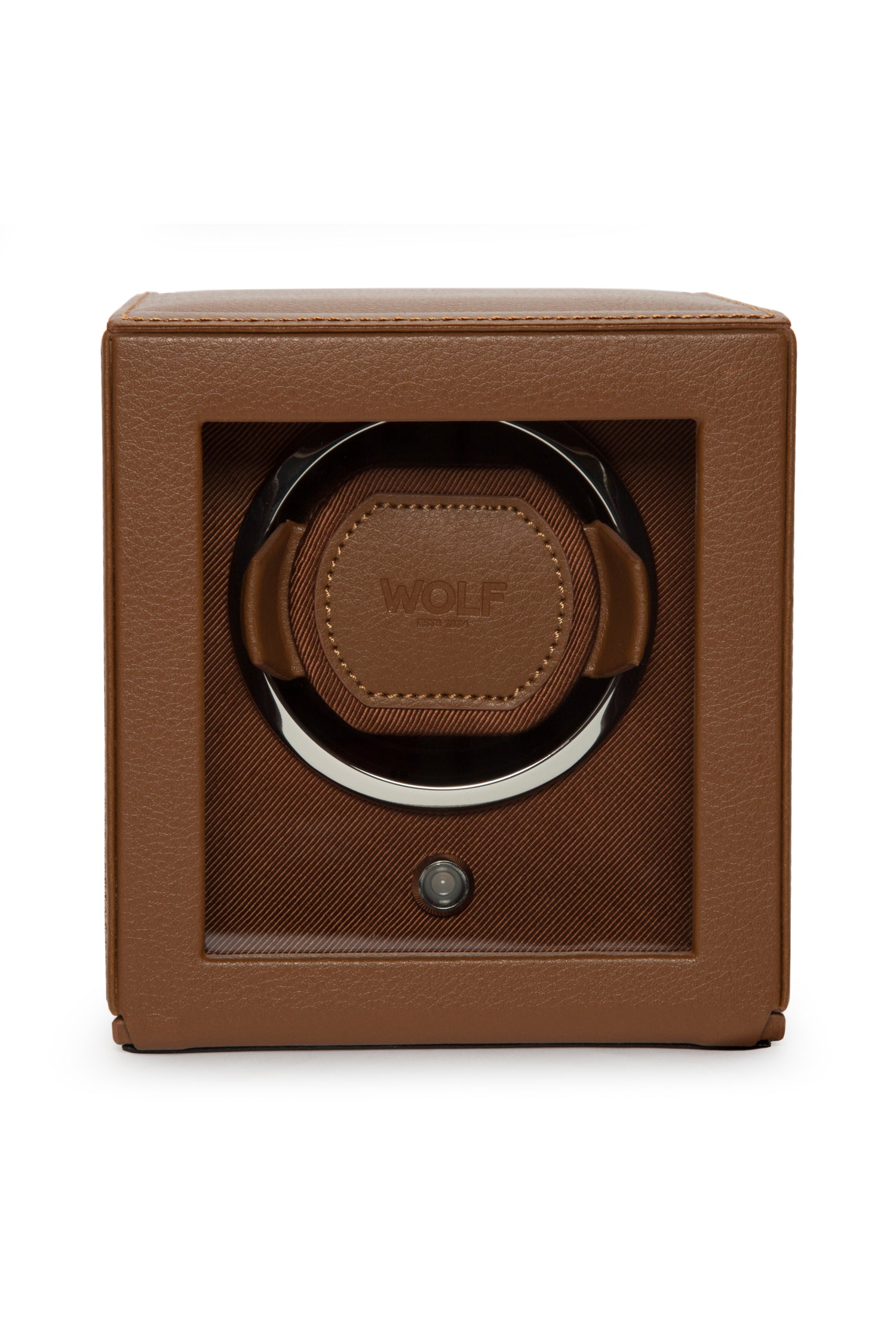 WOLF CUB Single Watch Winder with Cover in COGNAC