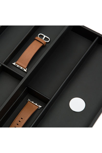 WOLF Watch Valet with Strap Tray for Apple Watch - BLACK