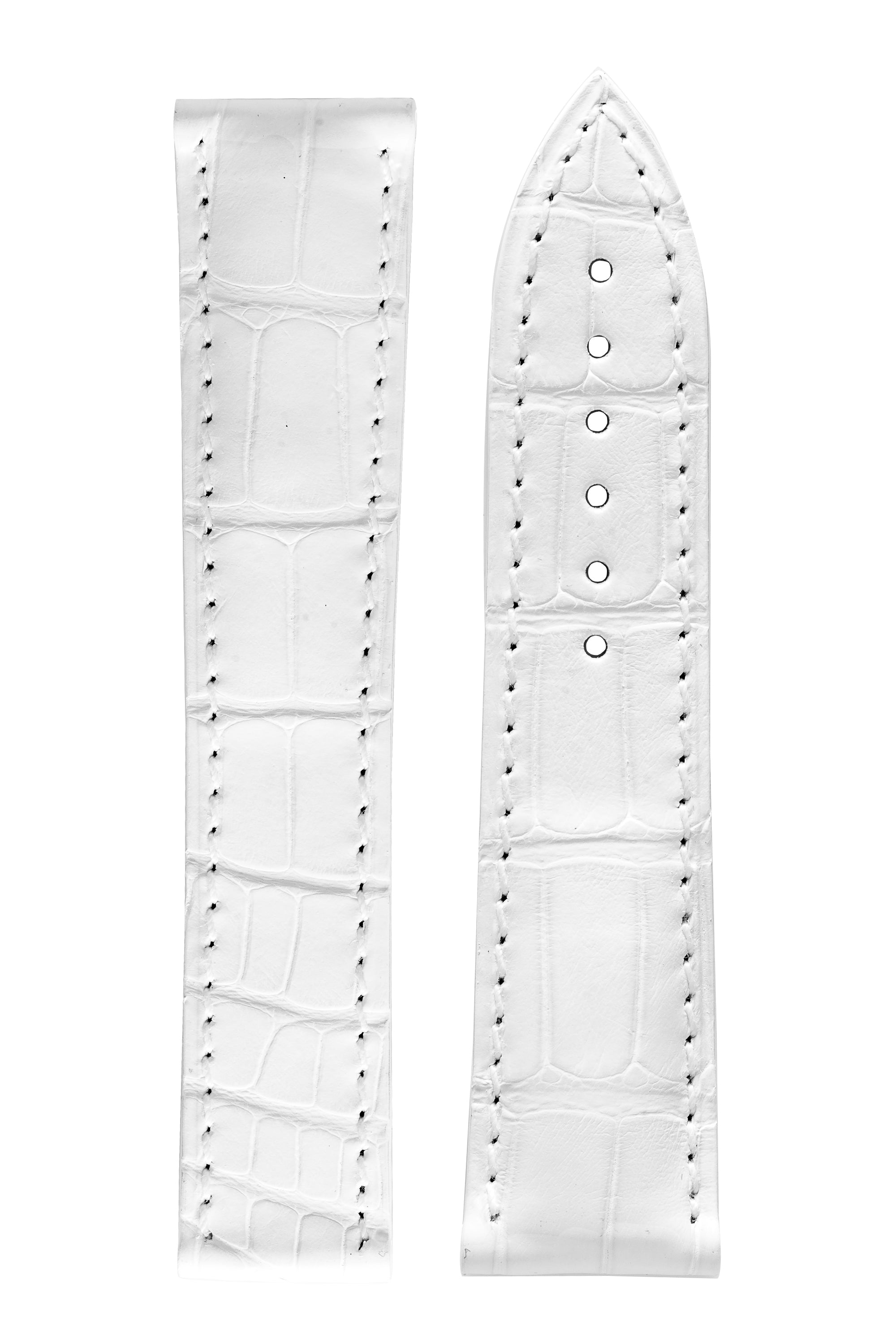 OMEGA 98000112 Genuine Alligator 18mm Short Deployment Watch Strap - WHITE