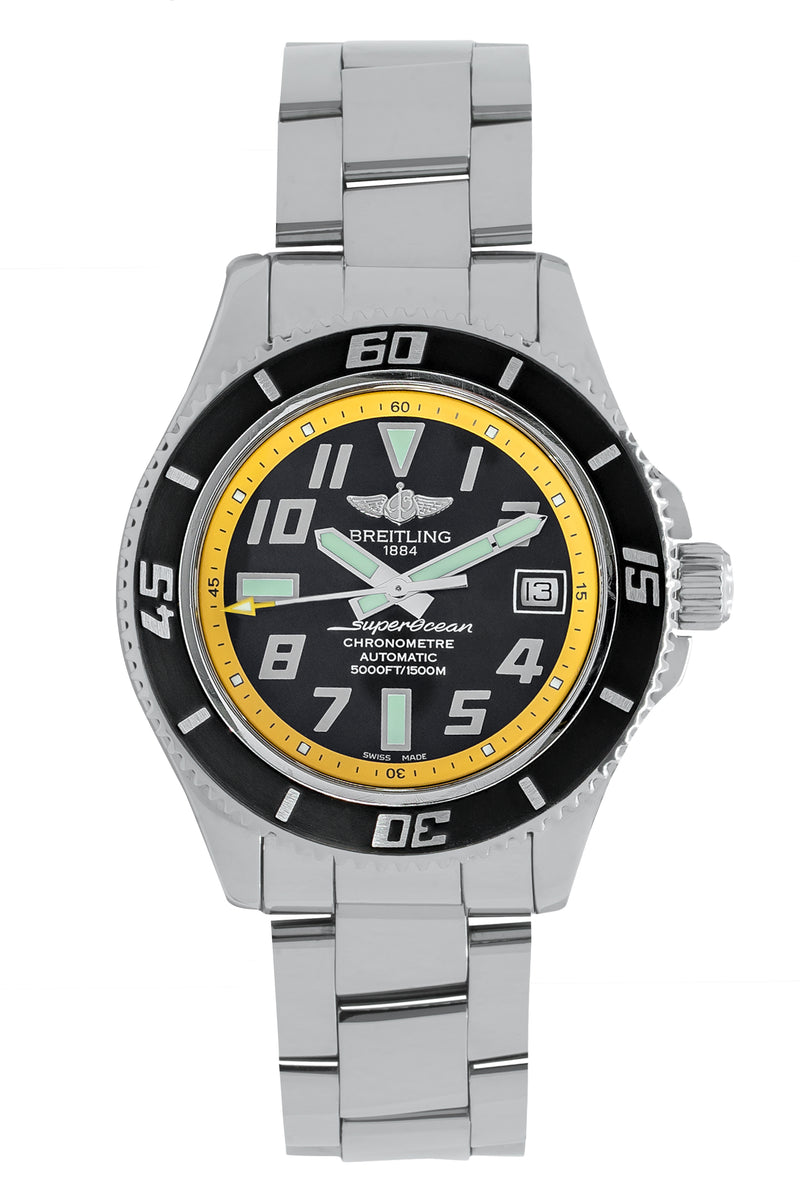 BREITLING SuperOcean 42 A1736403 Automatic Watch – Stainless Steel with Black & Yellow Dial