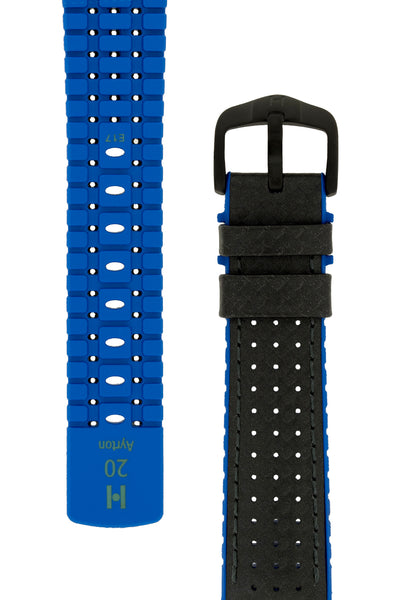 Hirsch Ayrton Carbon Fibre-Embossed Performance Rubber Watch Strap in Black & Blue (Taper & Buckle)