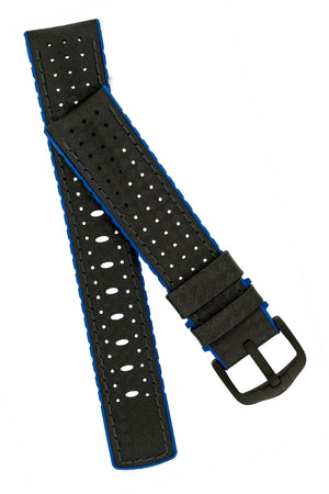 Hirsch Ayrton Carbon Fibre-Embossed Performance Rubber Watch Strap in Black & Blue