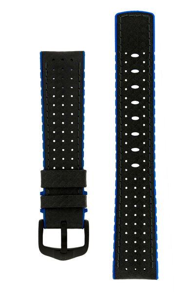 Hirsch Ayrton Carbon Fibre-Embossed Performance Rubber Watch Strap in Black & Blue (with Black PVD-Coated Steel H-Active Buckle)