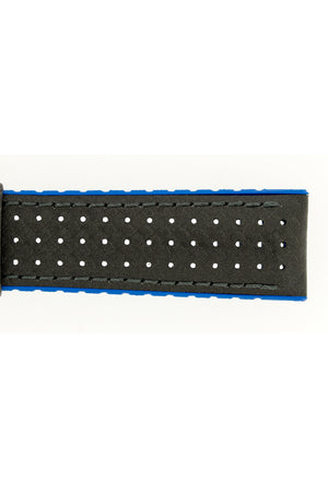 Hirsch AYRTON Carbon Embossed Performance Watch Strap in BLACK/BLUE