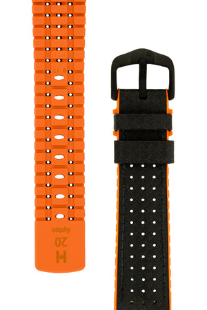 Hirsch Ayrton Carbon Fibre-Embossed Performance Rubber Watch Strap in Black & Orange (Tapers & Buckle)