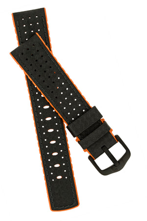 Hirsch Ayrton Carbon Fibre-Embossed Performance Rubber Watch Strap in Black & Orange