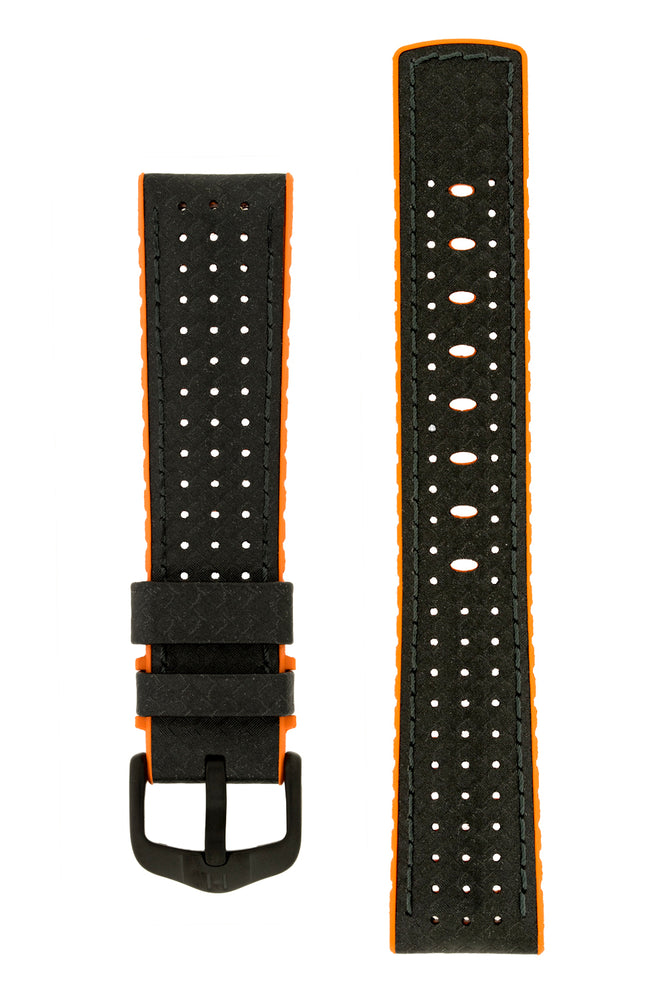 Hirsch Ayrton Carbon Fibre-Embossed Performance Rubber Watch Strap in Black & Orange (with Black PVD-Coated Steel H-Active Buckle)