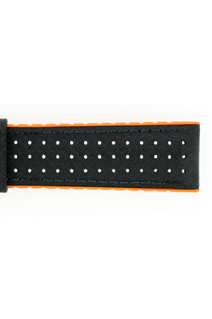 Hirsch Ayrton Carbon Fibre-Embossed Performance Rubber Watch Strap in Black & Orange (Texture Detail)