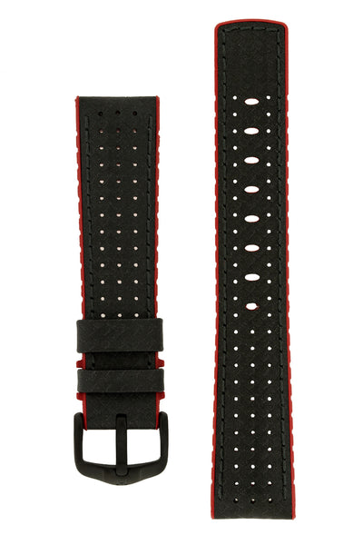 Hirsch Ayrton Carbon Fibre-Embossed Performance Rubber Watch Strap in Black & Red (with Black PVD-Coated Steel H-Active Buckle)