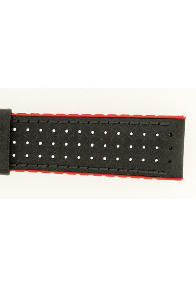 Hirsch Ayrton Carbon Fibre-Embossed Performance Rubber Watch Strap in Black & Red (Texture Detail)