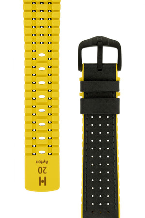 Hirsch Ayrton Carbon Fibre-Embossed Performance Rubber Watch Strap in Black & Yellow (Tapers & Buckle)