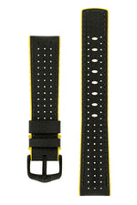 Hirsch AYRTON Carbon Embossed Performance Watch Strap in BLACK/YELLOW