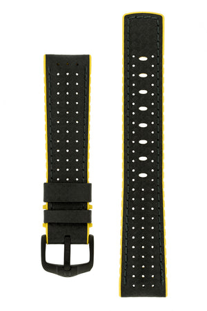 Hirsch Ayrton Carbon Fibre-Embossed Performance Rubber Watch Strap in Black & Yellow (with Black PVD-Coated Steel H-Active Buckle)