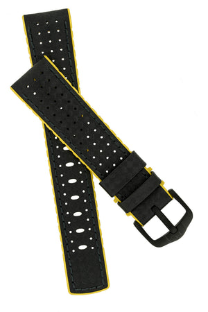 Hirsch Ayrton Carbon Fibre-Embossed Performance Rubber Watch Strap in Black & Yellow