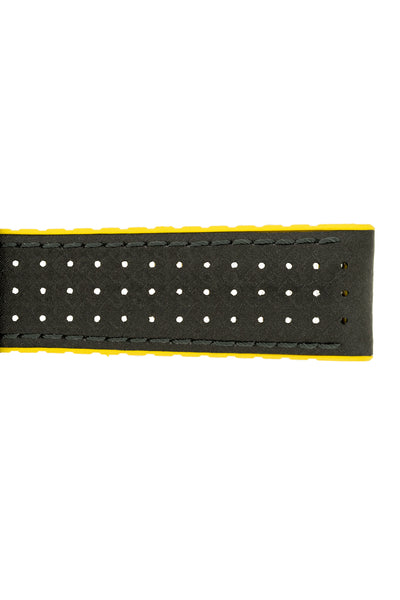 Hirsch Ayrton Carbon Fibre-Embossed Performance Rubber Watch Strap in Black & Yellow (Texture Detail)