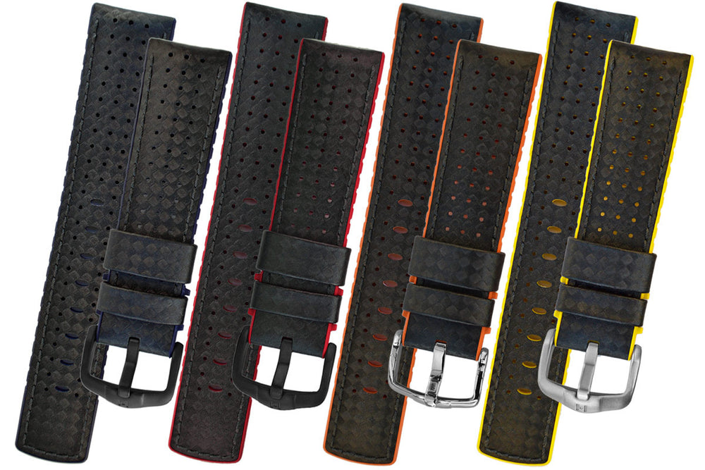 Hirsch Ayrton Carbon Fibre-Embossed Performance Rubber Watch Strap in Black & Blue (Colour Selection)