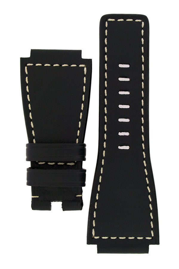 MiG Straps for BELL & ROSS - Calf Leather Watch Strap in BLACK / WHITE