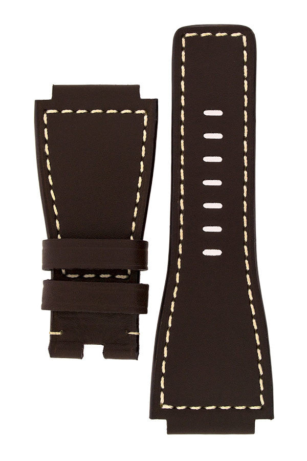 MiG Straps for BELL & ROSS - Calf Leather Watch Strap in BROWN / WHITE