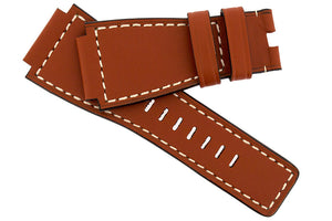 MiG Straps for BELL & ROSS - Calf Leather Watch Strap in GOLD BROWN / WHITE