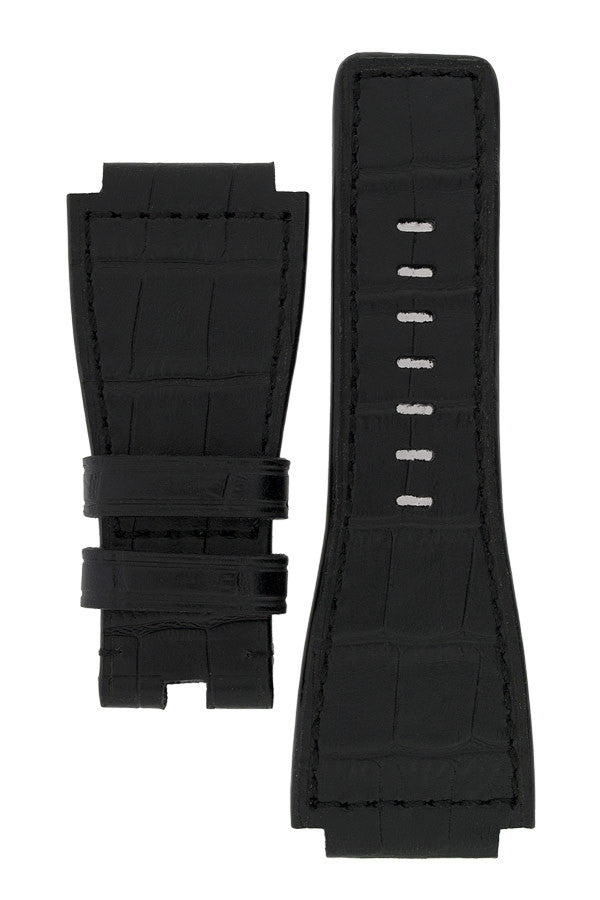 MiG Straps for BELL & ROSS - Alligator Embossed Leather Watch Strap in BLACK