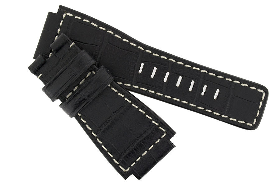 MiG Straps for BELL & ROSS - Alligator Embossed Leather Watch Strap in BLACK / WHITE