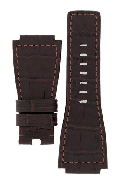 MiG Straps for BELL & ROSS - Alligator Embossed Leather Watch Strap in BROWN