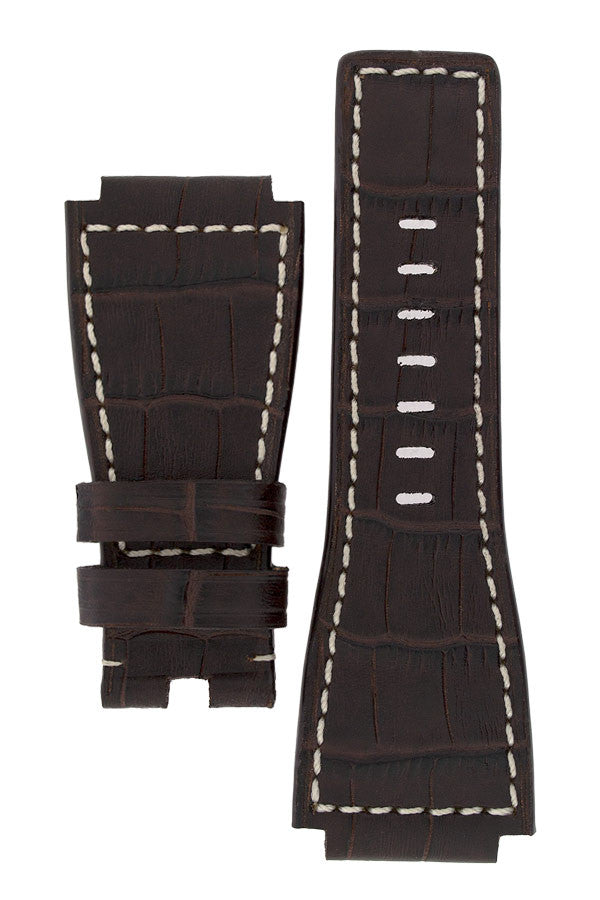 MiG Straps for BELL & ROSS - Alligator Embossed Leather Watch Strap in BROWN / WHITE