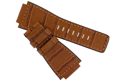 MiG Straps for BELL & ROSS - Alligator Embossed Leather Watch Strap in GOLD BROWN