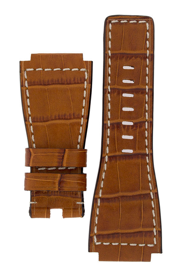 MiG Straps for BELL & ROSS - Alligator Embossed Leather Watch Strap in GOLD BROWN / WHITE