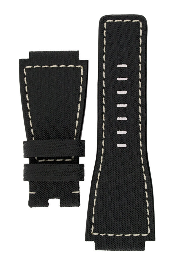 MiG Straps for BELL & ROSS - Nytech Woven Leather Watch Strap in BLACK / WHITE
