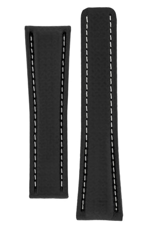 Breitling-Style Carbon-Embossed Leather Deployment Watch Strap in Black