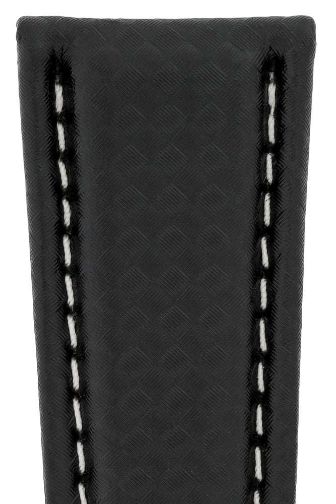 Breitling-Style Carbon-Embossed Leather Deployment Watch Strap in Black (Detail)
