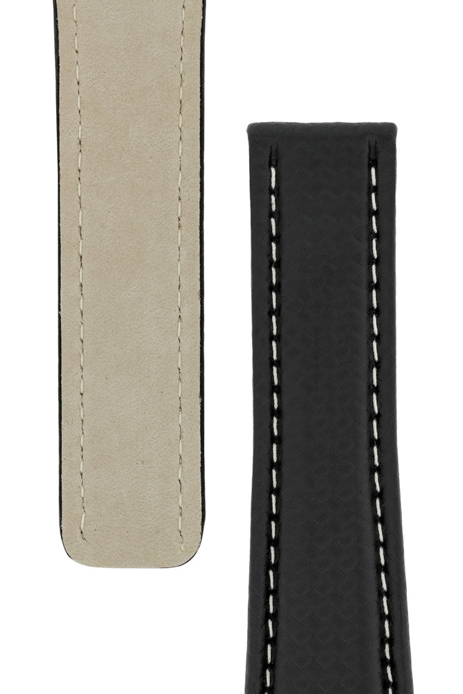 Breitling-Style Carbon-Embossed Leather Deployment Watch Strap in Black (Tapers)